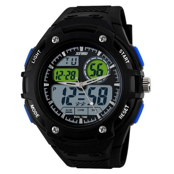 Relógio Masculino Skmei Anadigi 1018 Preto e Azul