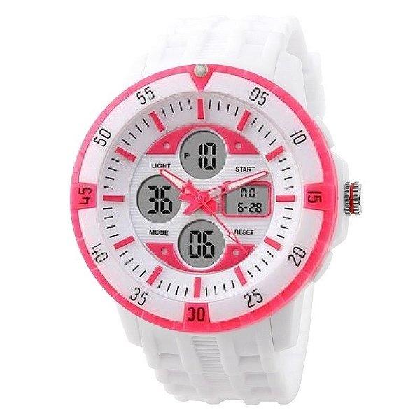 Relógio Feminino Skmei Anadigi 1046 Branco e Rosa