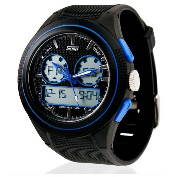 Relógio Masculino Skmei Anadigi 0957 Preto e Azul