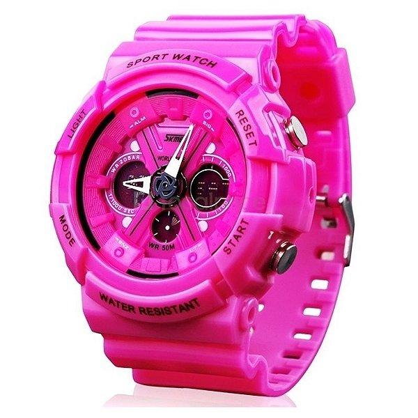 Relógio Feminino Skmei Anadigi 0966 Rosa