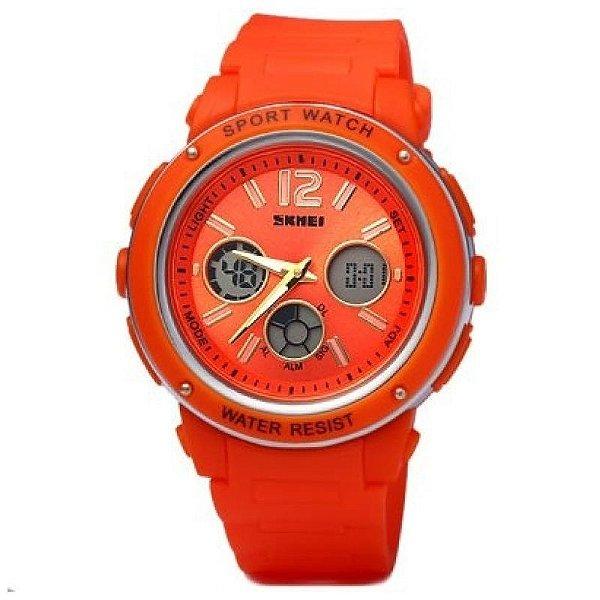 Relógio Feminino Skmei Anadigi 1051 Laranja