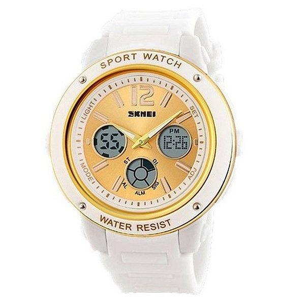 Relógio Feminino Skmei Anadigi 1051 Branco e Dourado