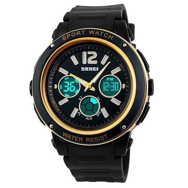 Relógio Feminino Skmei Anadigi 1051 Preto e Dourado