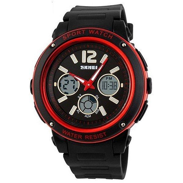 Relógio Masculino Skmei Anadigi 1051 Preto e Vermelho