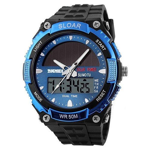 Relógio Masculino Skmei Anadigi 1049 Preto e Azul