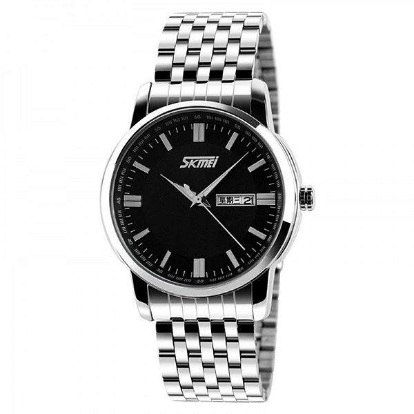 Relógio Masculino Skmei Analógico 9081 Prata e Preto