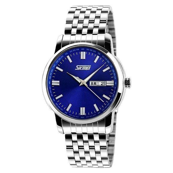 Relógio Masculino Skmei Analógico 9081 Prata e Azul