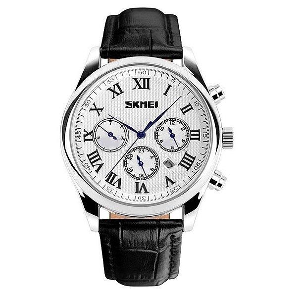 Relógio Masculino Skmei Analógico 9078 Preto e Branco
