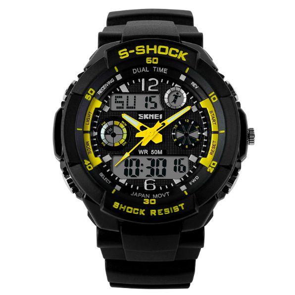 Relógio Masculino Skmei Anadigi 0931 Preto e Amarelo