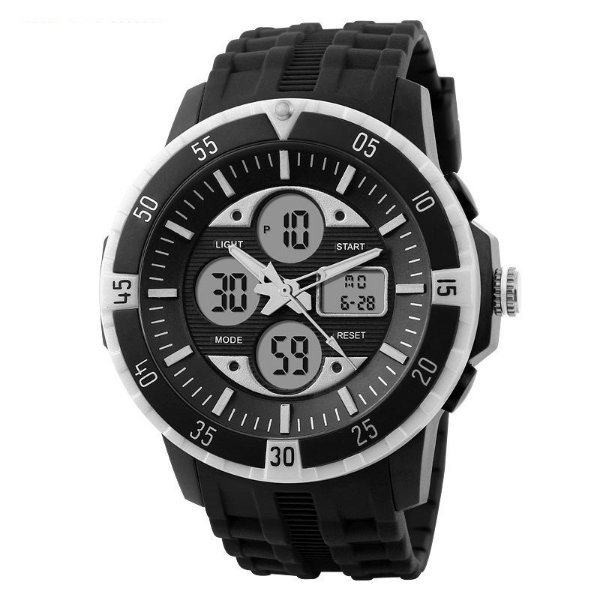 Relógio Masculino Skmei Anadigi 1046 Preto e Branco