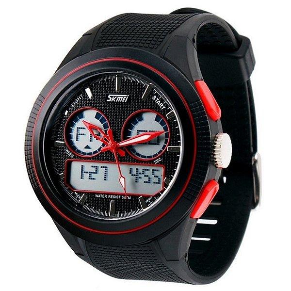 Relógio Masculino Skmei Anadigi 0957 Preto e Vermelho