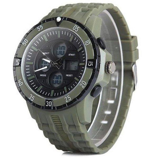 Relógio Masculino Skmei Anadigi 1046 Verde e Preto