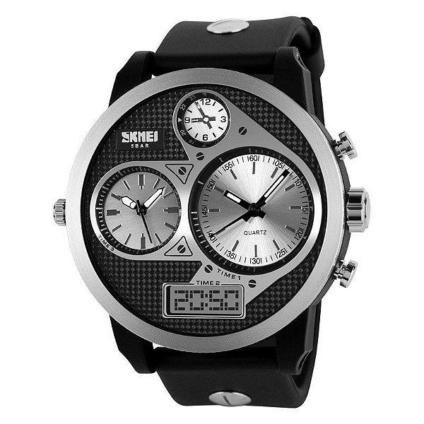 Relógio Masculino Skmei Anadigi  1033 Preto e Prata