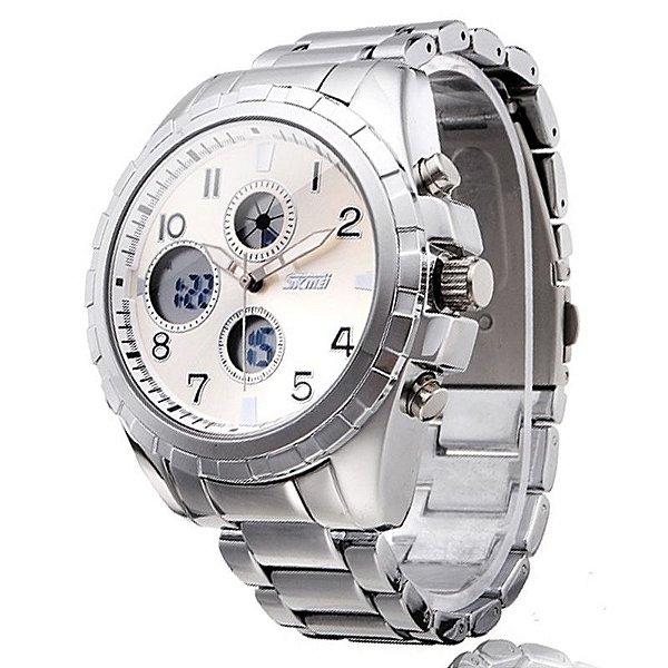 Relógio Masculino Skmei Anadigi 1021 Prata