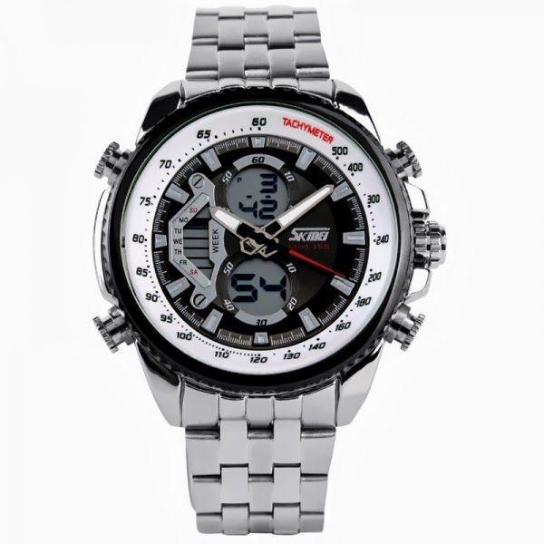 Relógio Masculino Skmei Anadigi 0993 Prata e Preto
