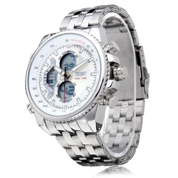 Relógio Masculino Skmei Anadigi 0993 Prata e Branco
