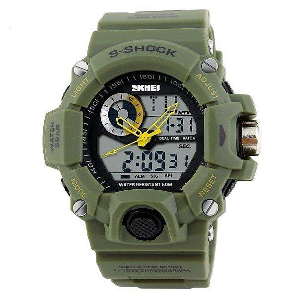 Relógio Masculino Skmei Anadigi  1053 Verde