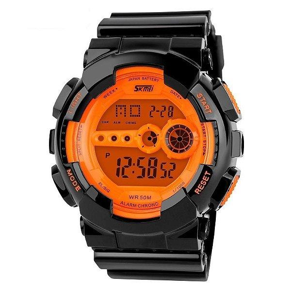 Relógio Masculino Skmei Digital 1026 Preto e Laranja