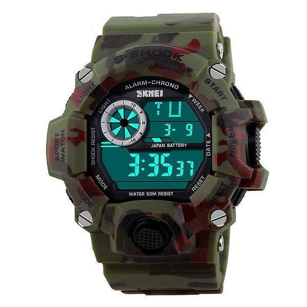 Relógio Masculino Skmei Digital 1019 Camuflado Vermelho
