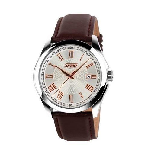 Relógio Masculino Skmei Analógico 9076 Marrom e Prata