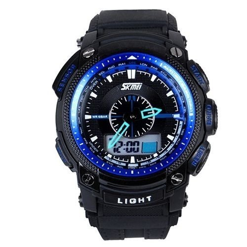 Relógio Masculino Skmei Anadigi  0910 Preto e Azul