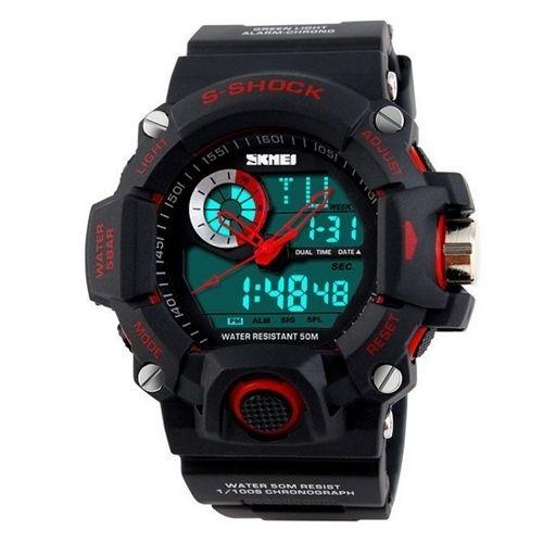 Relógio Masculino Skmei Anadigi  1053 Preto e Vermelho