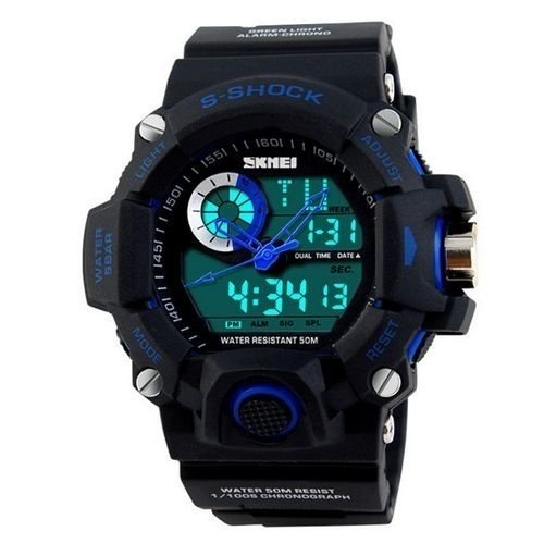 Relógio Masculino Skmei Anadigi 1053 Preto e Azul