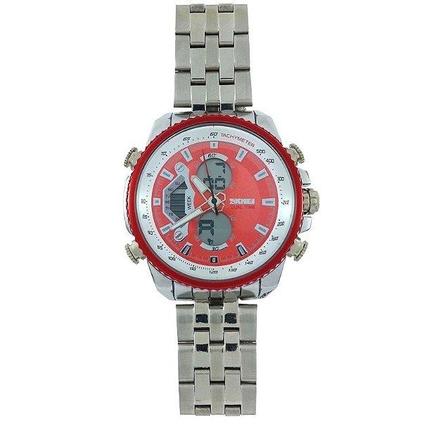 Relógio Masculino Skmei Anadigi 0993 Prata e Vermelho