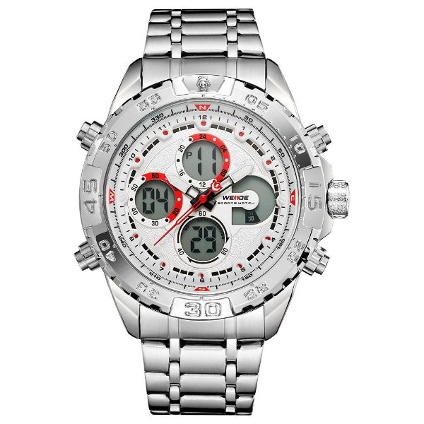 Relógio Masculino Weide AnaDigi WH6909 - Prata e Branco