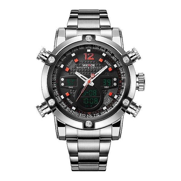Relógio Masculino Weide AnaDigi WH5205 - Prata e Preto