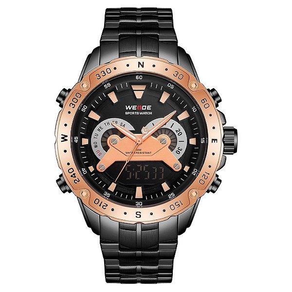 Relógio Masculino Weide AnaDigi WH8501 - Preto e Rosê