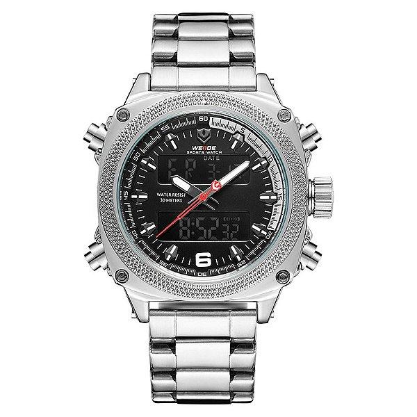 Relógio Masculino Weide AnaDigi WH7302 - Prata e Preto