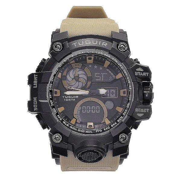 Relógio Masculino Tuguir 10ATM AnaDigi TG108 - Preto e Marrom