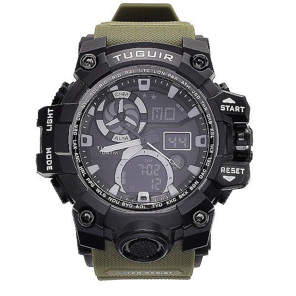Relógio Masculino Tuguir 10ATM AnaDigi TG108 - Preto e Verde