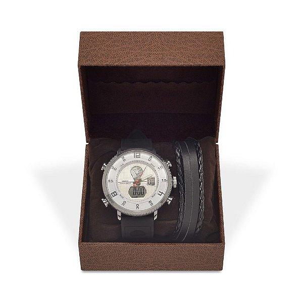 Kit Relógio Masculino Weide AnaDigi WH-6106 com Pulseira de Couro