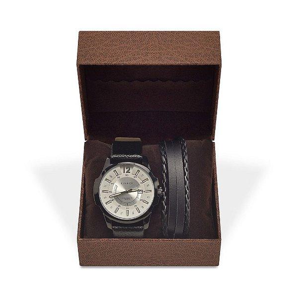 Kit Relógio Masculino Curren Analógico 8123 e Pulseira de Couro