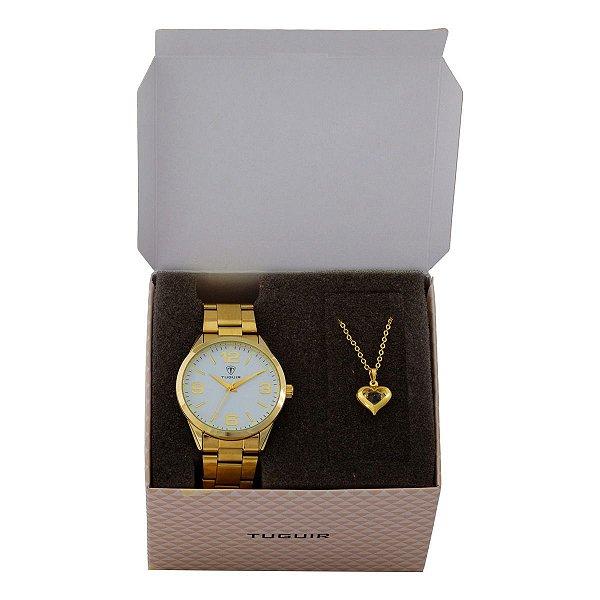 Kit Relógio Feminino Tuguir Analógico TG117 - Dourado