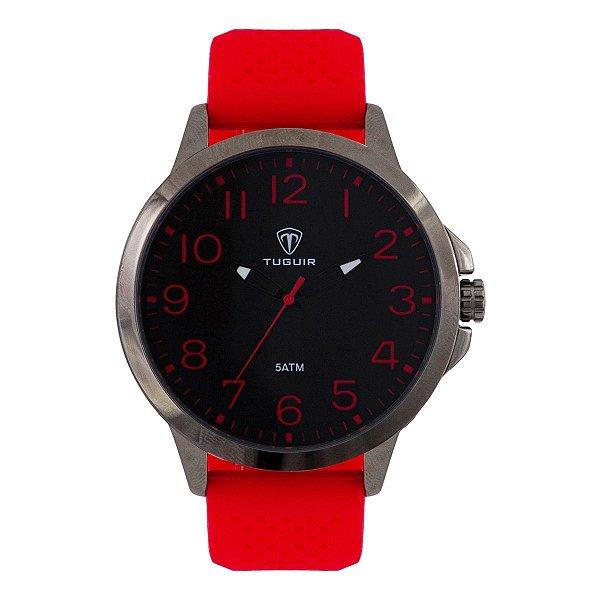 Relógio Masculino Tuguir Analógico Tg100 - Vermelho e Preto