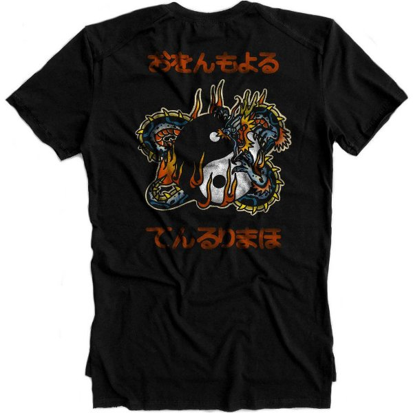 Camiseta Longline Gold Yin Yang Dragon