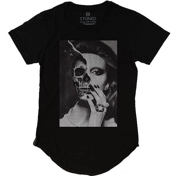 Camiseta Longline Skull Girl