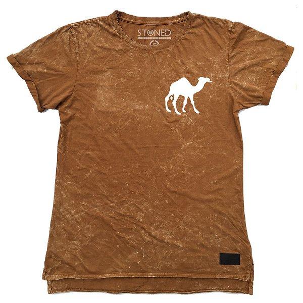 Camiseta Longline Estonada Camel