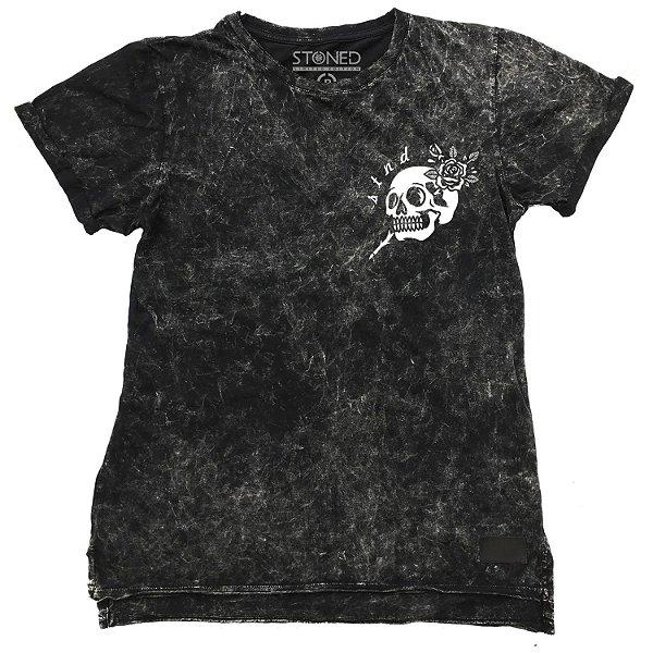 Camiseta Longline Estonada Skull Pin