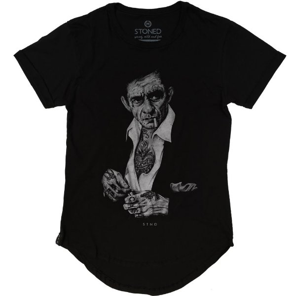 Camiseta Longline Johnny Cash