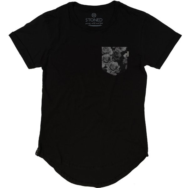 Camiseta Longline Fake Pocket Flowers