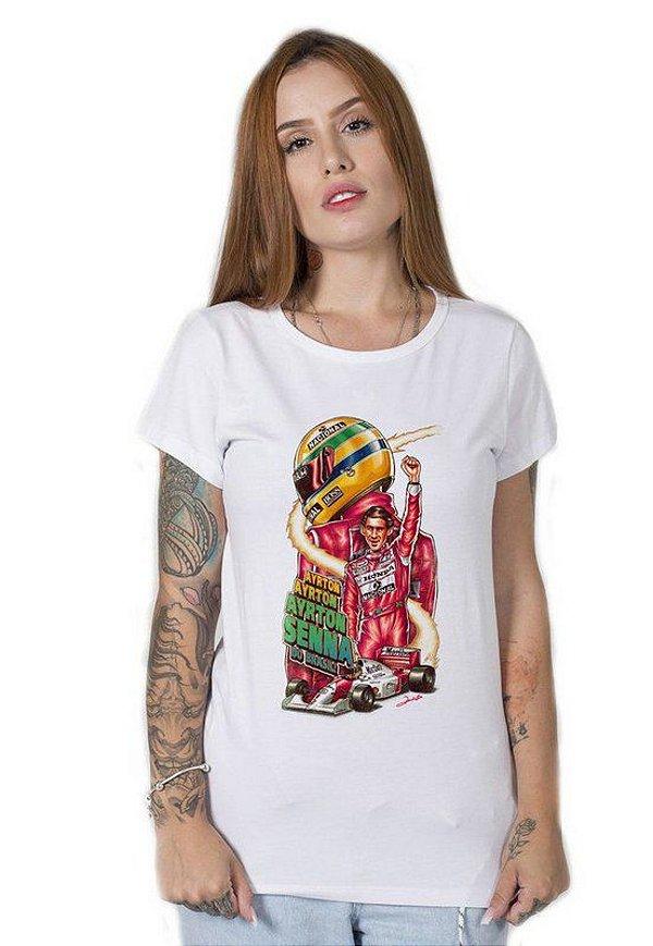 Camiseta Feminina Ayrton Senna Draw