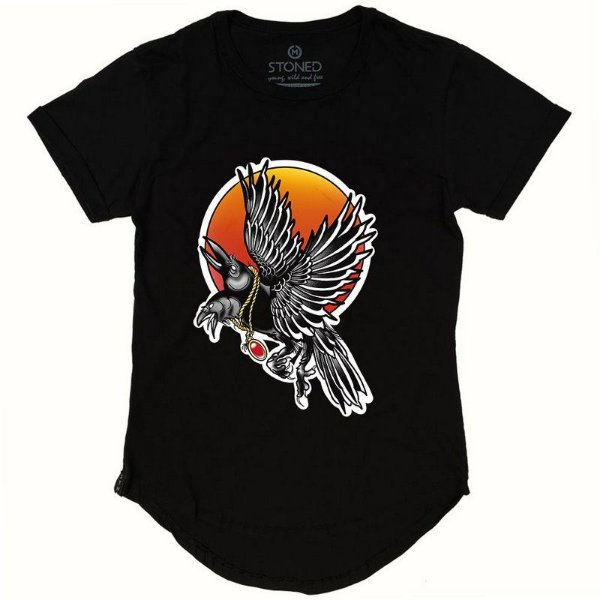 Camiseta Longline Black Crow