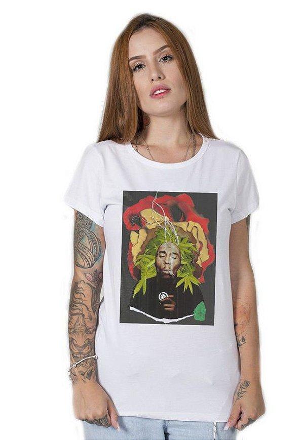 Camiseta Feminina Bob Marley Collage