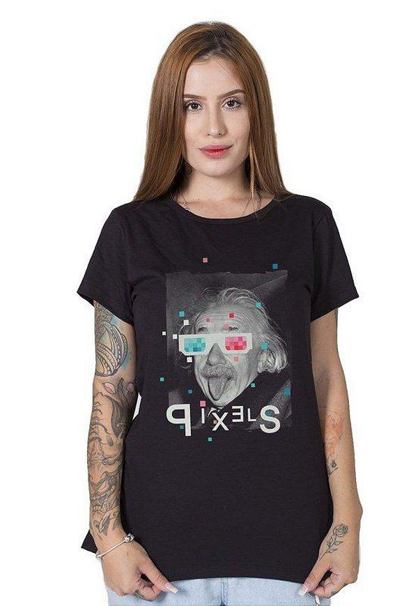 Camiseta Feminina Crazy Glasses Einstein