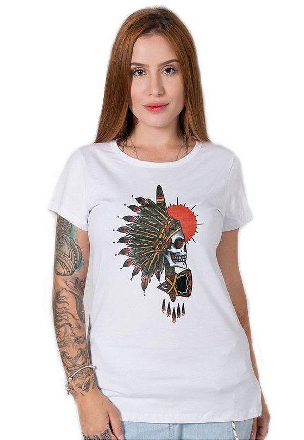 Camiseta Feminina Indian Chief Skull