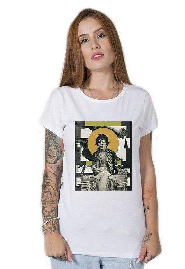 Camiseta Feminina Jimi Hendrix Abstract